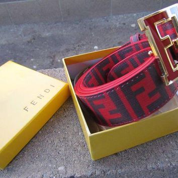 Gotopfashion Fendi leather designer red? luxury belt with box 30 - 38