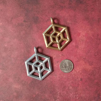 Tesseract Pendant, Tesseract Ornament, Tesseract Necklace, Geometric Pendant, Cube Pendant, Pendant, Sacred Geometry Necklace,  Tesseract
