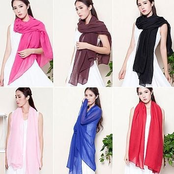 Women's Fashion Long Cotton Linen  Scarf Shawl Solid Color Stole Pashmina