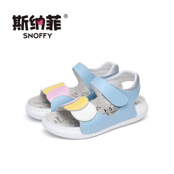 Snoffy Childrens Leather Sandals Open Toe Summer Girls Shoes Flat Heel Flower Baby Toddler Girls Beach Sandals TX199
