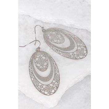 Silver Textured Filigree Oval Earrings