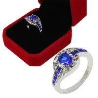 Unique Sapphire Jewelry Blue Oval Zircon Stone Ring White Gold Filled Wedding Engagement Rings For Women Men SM6