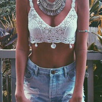 Deep V-neck Knit Crochet Bralet Top