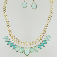 Eva Necklace Mint Stone Statement Necklace