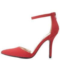 Red Pointed Toe Ankle Strap D'Orsay Pumps by Charlotte Russe