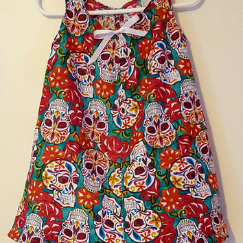 Size - 3T - baby - toddler - girls - festive - sugar - skull - floral - dress