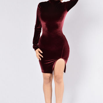 Raise A Glass Dress - Burgundy