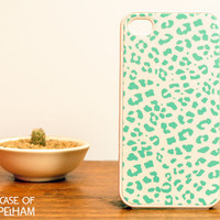 Mint Green Leopard iPhone Case - Leopard iPhone 4 Case - Mint Green Leopard Print