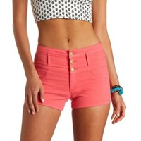 "Refuge ""Hi-Waist Shortie"" Colored Denim Shorts - Coral"