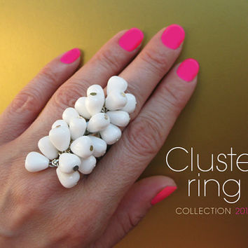 Long cluster ring with white teardrop Czech glass beads. Modern, extravagant ring. Bold large long cocktail ring by KarmanJewelry