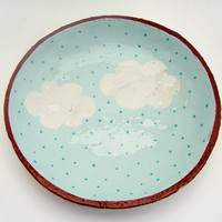 Hand Painted Cloud Ceramic Plate - Pottery Plate - Shallow Bowl - Ceramics and Pottery - Cloud Plate - MADE TO ORDER