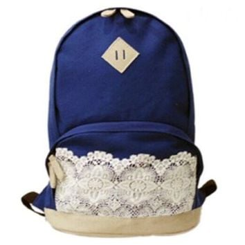 Canvas Backpack with Lace/ Preppy Style Knapsack/ Casual Rucksack/ School Backpack - (Navy blue)