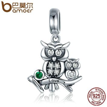 Genuine 100% 925 Sterling Silver Cute Owl Love Story Pendant Charms fit Bracelets Necklace Jewelry Accessories SCC425