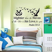 Wall Decals Quotes Vinyl Sticker Psalms 93:4 Mightier Than the Waves of the Sea Anchor Nautical Decor Nursery Kids Bedroom Interior C626