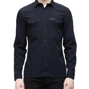 Military-Style Woven Denim Shirt, Indigo, Size: