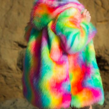 Psychedelic Mess Medium Length Faux Fur Coat in Bright Rainbow