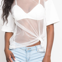 SHORT SLEEVE MESH TOP WITH BRA