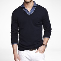 TIPPED COTTON BLEND V-NECK SWEATER