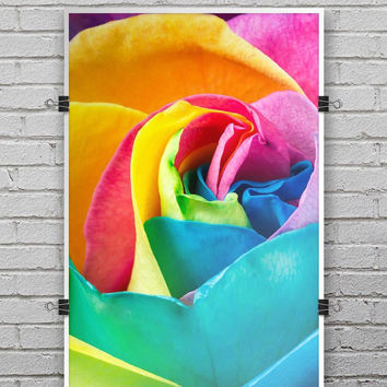 Rainbow Dyed Rose V2 - Ultra Rich Poster Print