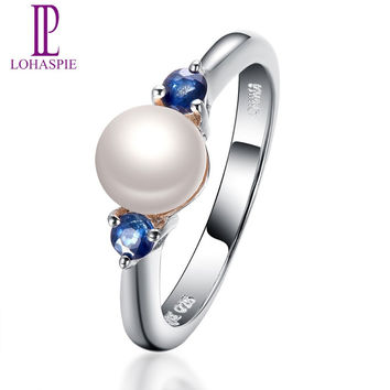 Lohaspie Solid 925 Sterling Silver 100% Natural Freshwater Pearl & Blue Sapphire Wedding Ring For Women's Fine Gemstone Jewelry