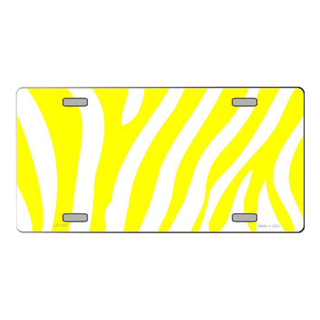 Smart Blonde Yellow | White Zebra Print Customizable Vanity Metal Novelty License Plate Tag Sign