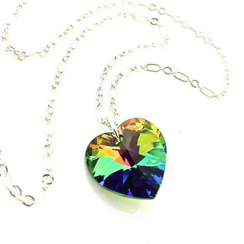 Rainbow Heart Necklace, Swarovski Crystal Heart, Multicolor Heart Necklace, Colorful Pendant, Neon Heart, Green Heart, Gift For Girl