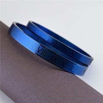ca DCCKTM4 Stylish Shiny Jewelry New Arrival Couple Roman Ladies Titanium Ring Bangle [36656545799]