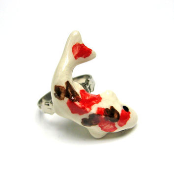 Ceramic Japanese Koi Fish Ring Red Brown and White by SovereignSea