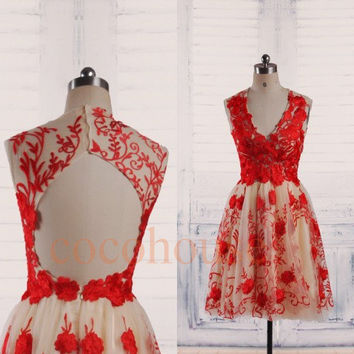 Red Embroidery Applique Short Prom Dresses 2015, Backless Short Bridesmaid Dresses, Homecoming Dress,Sexy Party Dresses,Wedding Party Dress