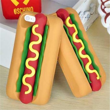 3D Hot Dog  Cartoon Silicone Phone Cases