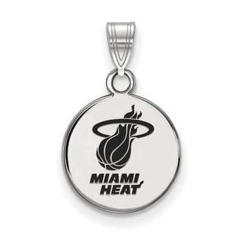NBA Miami Heat Small Disc Pendant in Sterling Silver