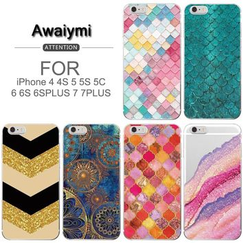 Beautiful Mermaid Fish Scales For Apple iPhone 6S Case Colored Tail Soft TPU Case For iPhone 6 6pus 6s plus 7 7plus 5 5s 4 4s 5c