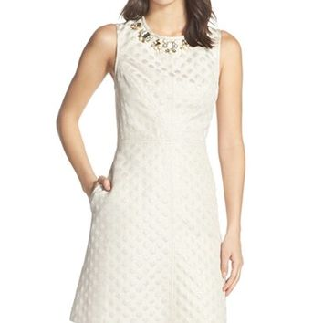 Women's Eliza J Embellished Jacquard A-Line Dress,