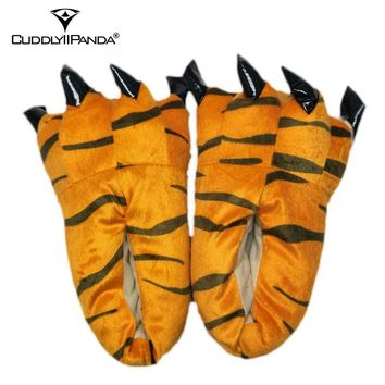 CuddlyIIPanda 2017 Hot Funny Animal Paw Slippers Cute Monster Claw Slippers Cartoon Slipper Warm Soft Plush Winter Indoor Shoes
