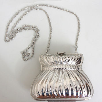80s Silver MINAUDIERE Clutch | Vintage 1980s Metal NOVELTY PURSE
