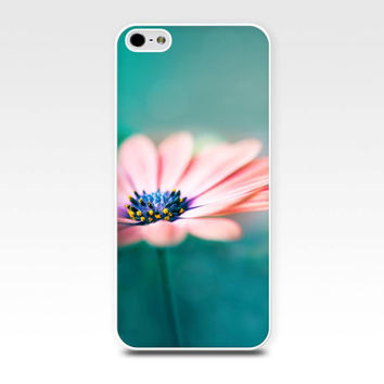 floral iphone case daisy iphone 5s case 4 4s 5 flower iphone 5 case botanical iphone 4 4s 5 5s case fine art photo case peach teal iphone