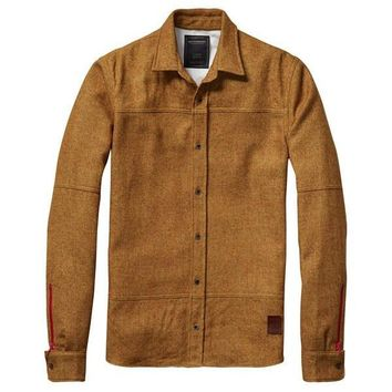 Dirty Sand Construction Wool Button Shirt by Scotch & Soda