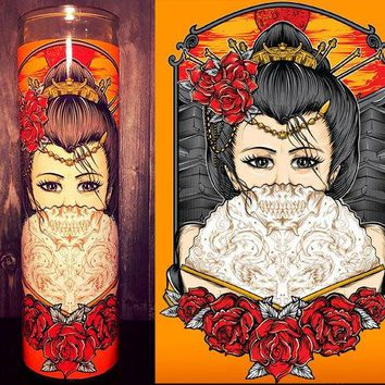 Geisha, Geisha Tattoo, Japanese Art, Geisha Girl, Scented Candle, Prayer Candle, Gift Idea, Good Vibes  Best Scented Candles,