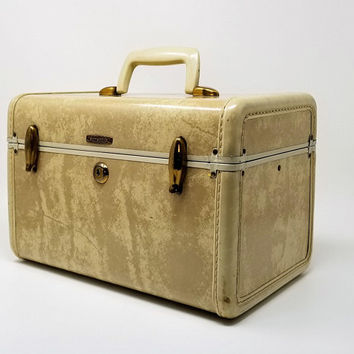 Vintage Samsonite Marbled White Train Case Style 4512