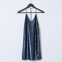 The Muse Mini-Dress - Blue Sequins