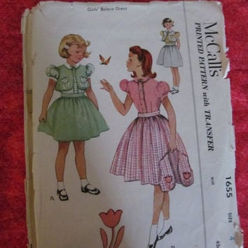 Spring Fever Sale 1950's McCall's Sewing Pattern, 1655! Size 4, Girls/Toddlers/Kids/Children, Bolero Dress, Embroidery Transfer Included, Sk