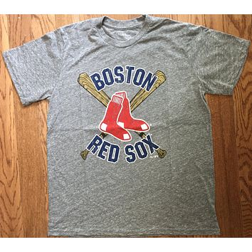 Retro MLB Boston Red Sox Cross Bats Tri Blend T-Shirt