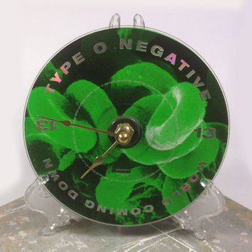 CD Clock, Desk Clock, Wall Clock, Type O Negative, Recycled Music Compact Disc, Upcycle, Battery, Wall Hanger & Stand ALL INCLUDED
