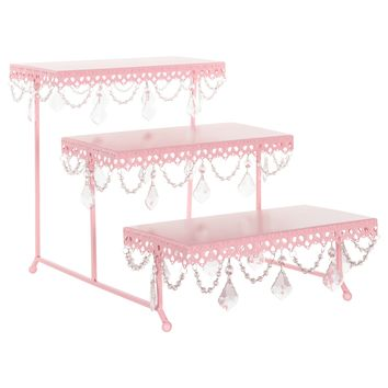 3-Tier Serving Platter and Cupcake Stand with Crystals (Pink)