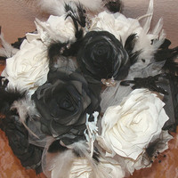 Bridal bouquet, wedding bouquet,Black White Roses, Fake flower bouquet, coffee filter flowers, silk flower bouquet, Feather n Dragon bouquet