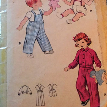 "Vintage Butterick Sewing Pattern 176 for ""Toddlers Sunsuit or Overalls and Jacket"" From 1960s / Size 4 Bust 23"