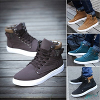 Mr.J Mens Shoes New Arrival Retro Style Casual High Top Sneakers Canvas Shoes [9145121990]