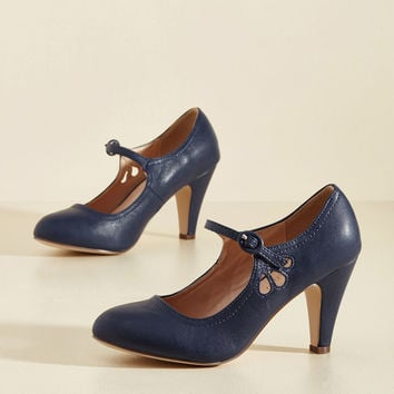 Jive O'Clock Somewhere Mary Jane Heel in Navy | Mod Retro Vintage Heels | ModCloth.com