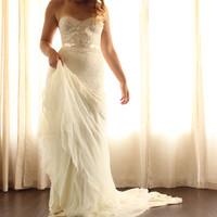 Wedding Dress Romantic Lace Low Back  Chiffon- Catania Wedding Gown