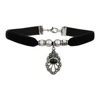 Black Velvet Drop Charm Choker - Black